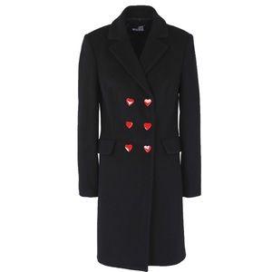 LOVE MOSCHINO Double Breast Wool Hearts Coat